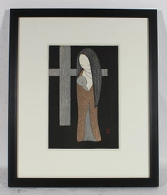 """Little Madonna"" Japanese Woodcut, Mid-Century"