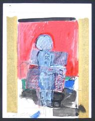 Expressionist Figure in Collage and Gouache, 1972