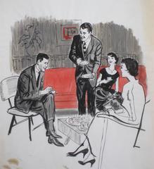 Mid Century Party Scene Illustration