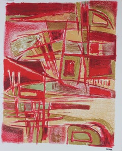 Mid Century Modern Abstract in Red, Lithograph Print on Paper, Circa 1950
