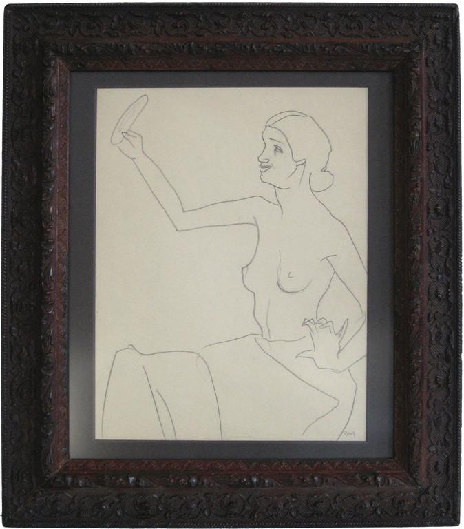 Edith Bry - Seated Figure with Mirror, Graphite on Paper, Circa 1930s 1