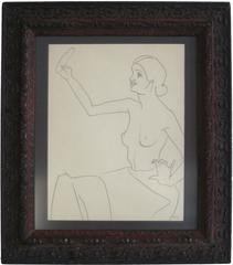 Seated Figure with Mirror, Graphite on Paper, Circa 1930s
