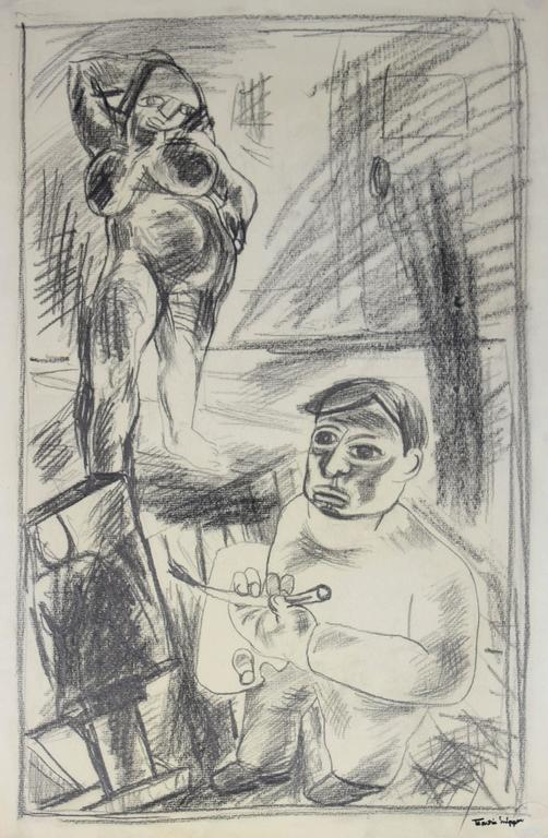 Martin Snipper Figurative Art - Artist and Model in the Studio, Graphite Drawing, Mid 20th Century