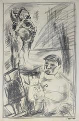 Artist and Model in the Studio, Graphite Drawing, Mid 20th Century