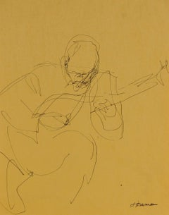 Guitar Player Sketch in Yellow