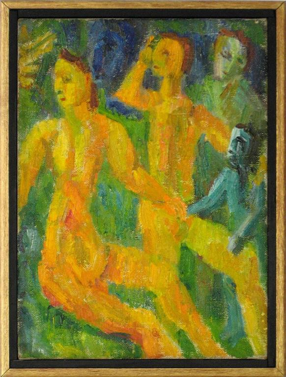 Petite Expressionist Figures in Oil, 1942