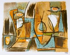 Mid Century Abstract in Ochre and Blue