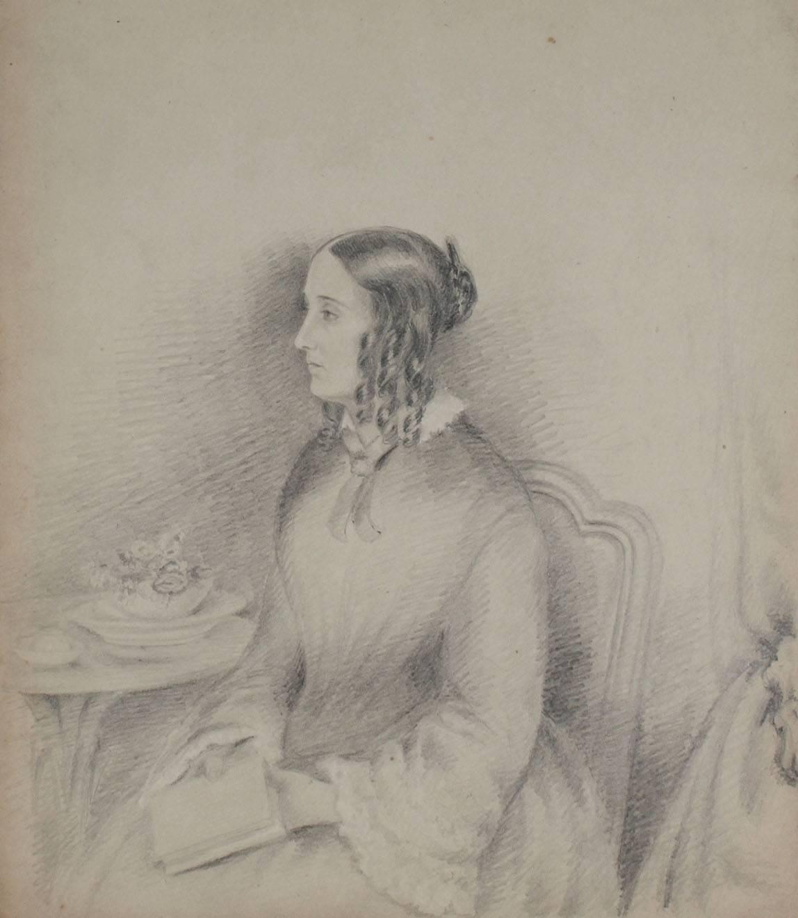 Delicate Female Portrait in Graphite, 1800s