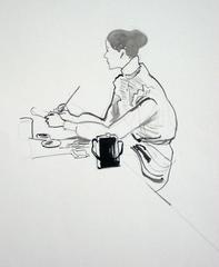 Seated Woman Sketching in Ink, Circa 1950s