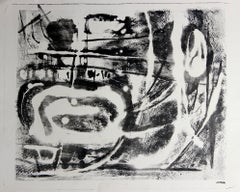 Monochromatic Mid Century Abstract Lithograph