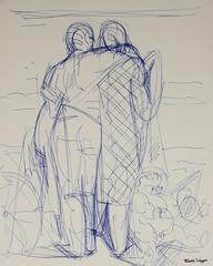 Embracing Figures Sketch in Blue Ink