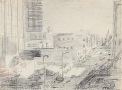 San Francisco City Scene in Graphite, Circa 1960s