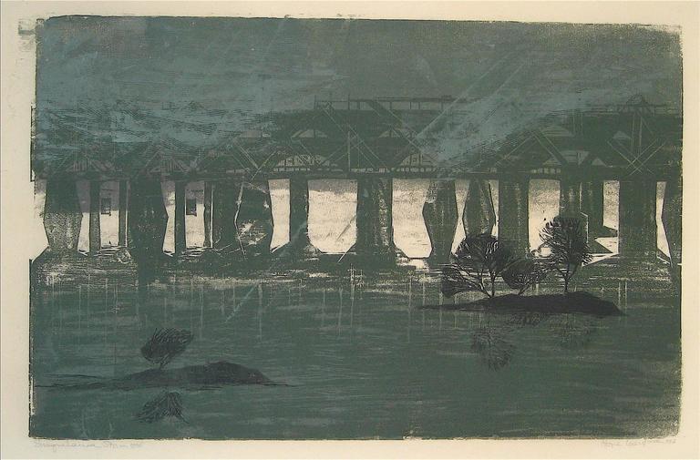 """""""Susquehanna Storm"""" Large Woodcut Landscape, 1960"""