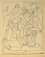Expressionist Figures in Ink, Mid 20th Century