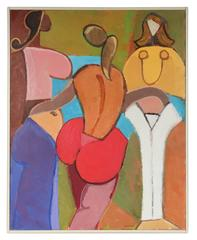 Bright Abstracted Female Figures in Oil, 20th Century