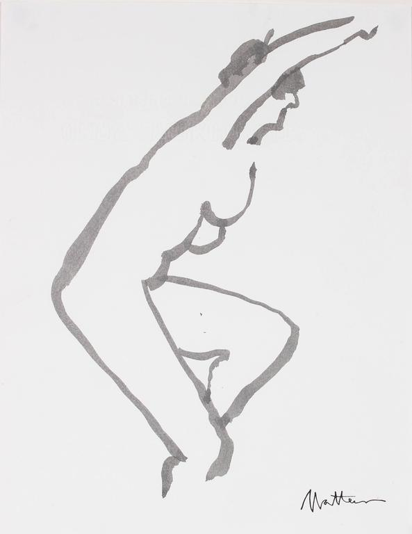 Minimalist Figure in Black Ink, 20th Century