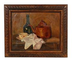 Kettle and Bottle Still Life in Oil, Early 20th Century