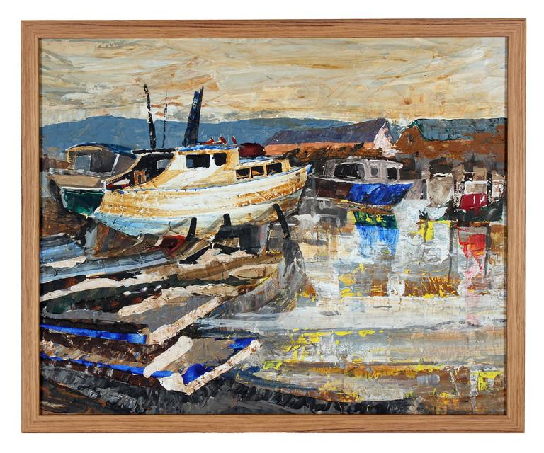 3 Piece Painting On Canvas Wall Art Nyc Street Lights New: Harbor Scene With Boats, Oil On Board, 20th