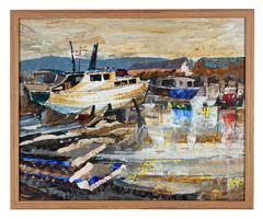 Harbor Scene with Boats, Oil on Board, 20th Century