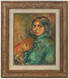Portrait of Artist Ethel Weiner Guttman, Oil on Canvas, Mid 20th Century