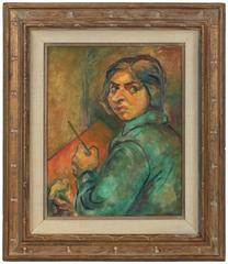 Portrait of Artist Ethel Weiner Guttman, Oil on Canvas, Mid 20th Century