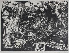 Dystopian Scene Linoleum Block Print, 20th Century
