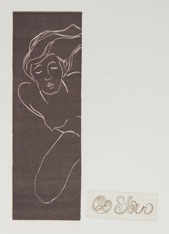 "Howard Albert Figurative Print - ""Ce Soir"" Monochromatic Nude Etching, Circa 1960s"