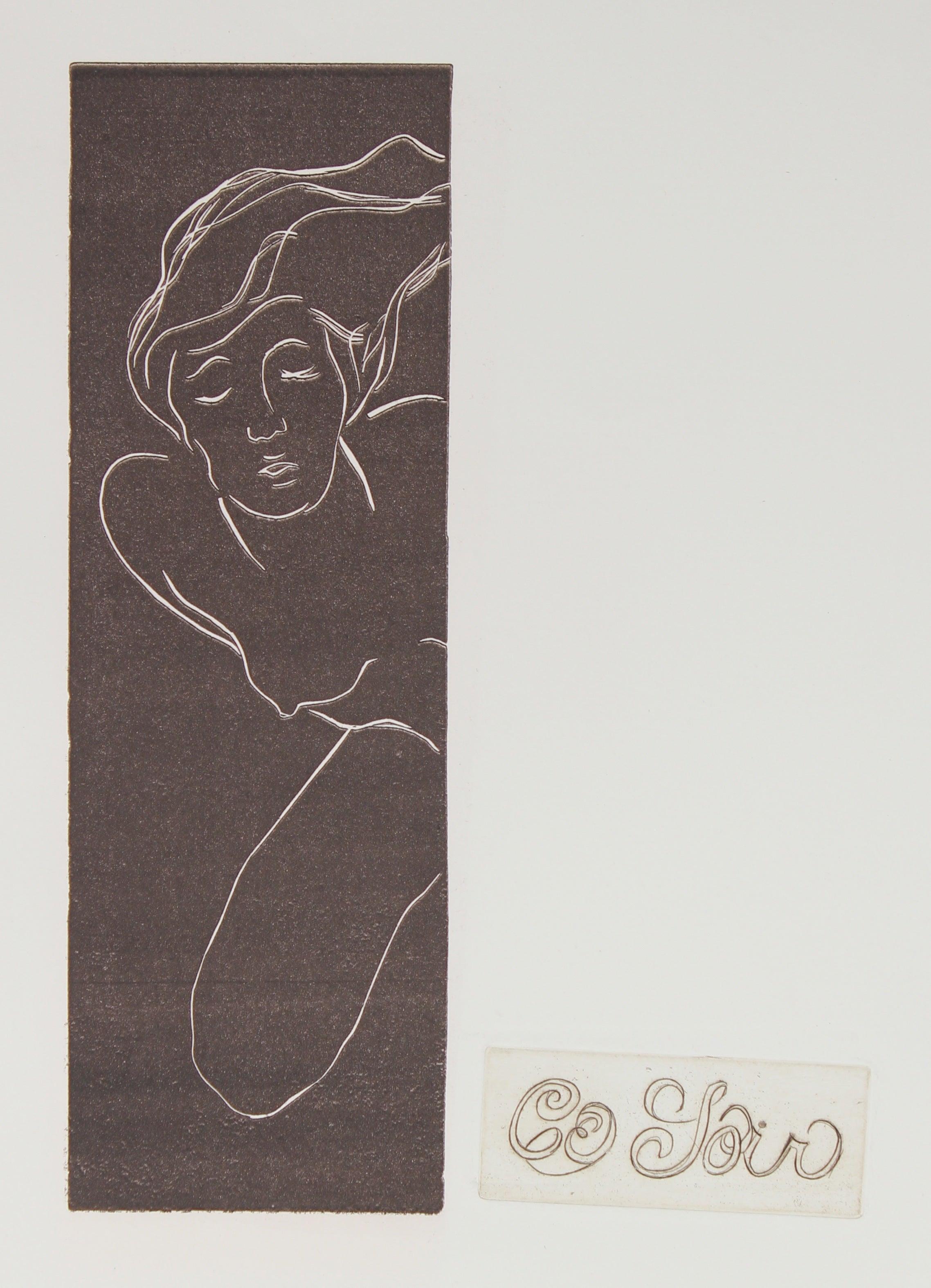 """Ce Soir"" Monochromatic Nude Etching, Circa 1960s"