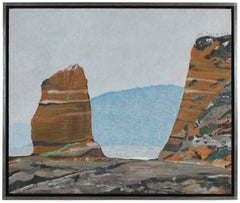 """The Lost Coast"" California Seascape with Orange Sandy Cliffs & Rocks in Oil"