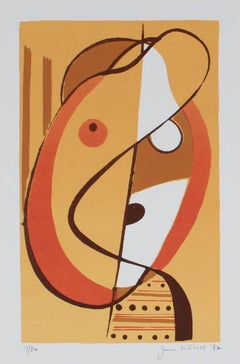 """""""Small Head"""" Abstracted Serigraph Abstract, 1972"""