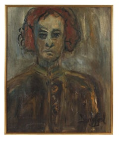 """""""Kathleen Brown, The Painter, Oakland"""" Portrait in Gray Brown & Rust Red, 1967"""