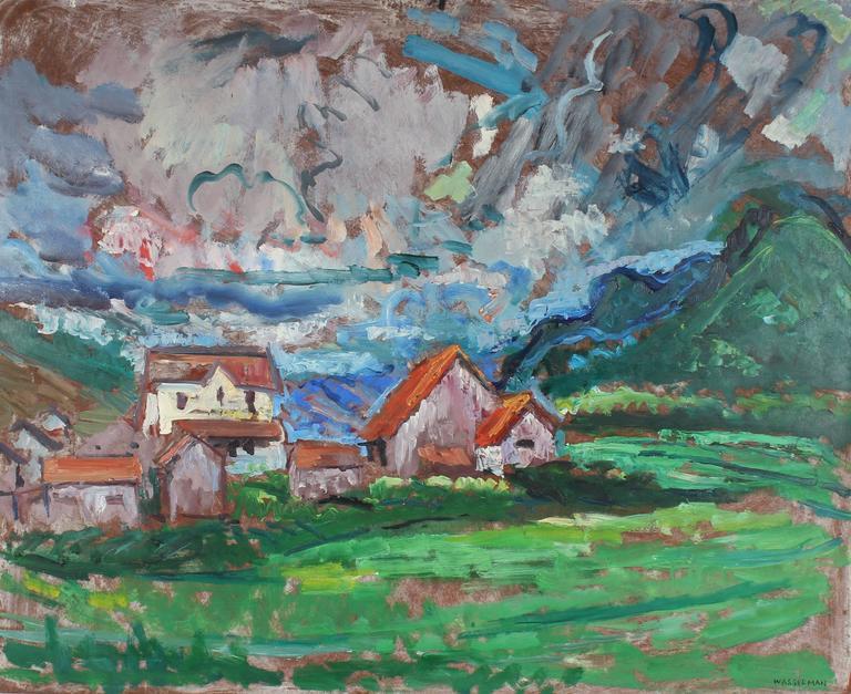 Gerald Wasserman Landscape Painting - Carmel Countryside Landscape, Oil Painting, Mid-Century