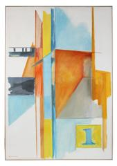"""""""Seville"""" Large Abstract with Blue and Orange, Circa 1975"""