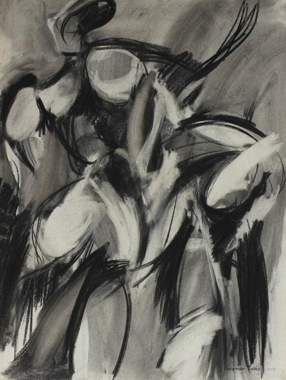 Monochromatic Abstract Expressionist Study in Charcoal, 1950