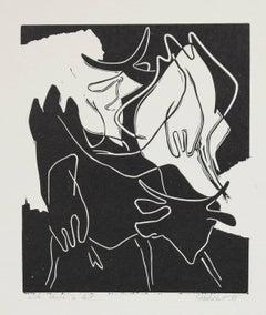 """Vache à Lait"" Woodblock Abstract"
