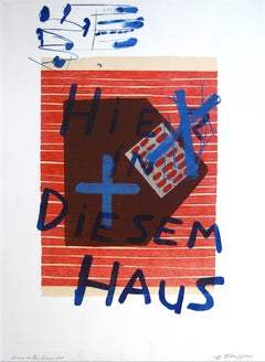 """""""Here in This House #1"""" Abstract Lithograph in Red and Blue, 1998"""