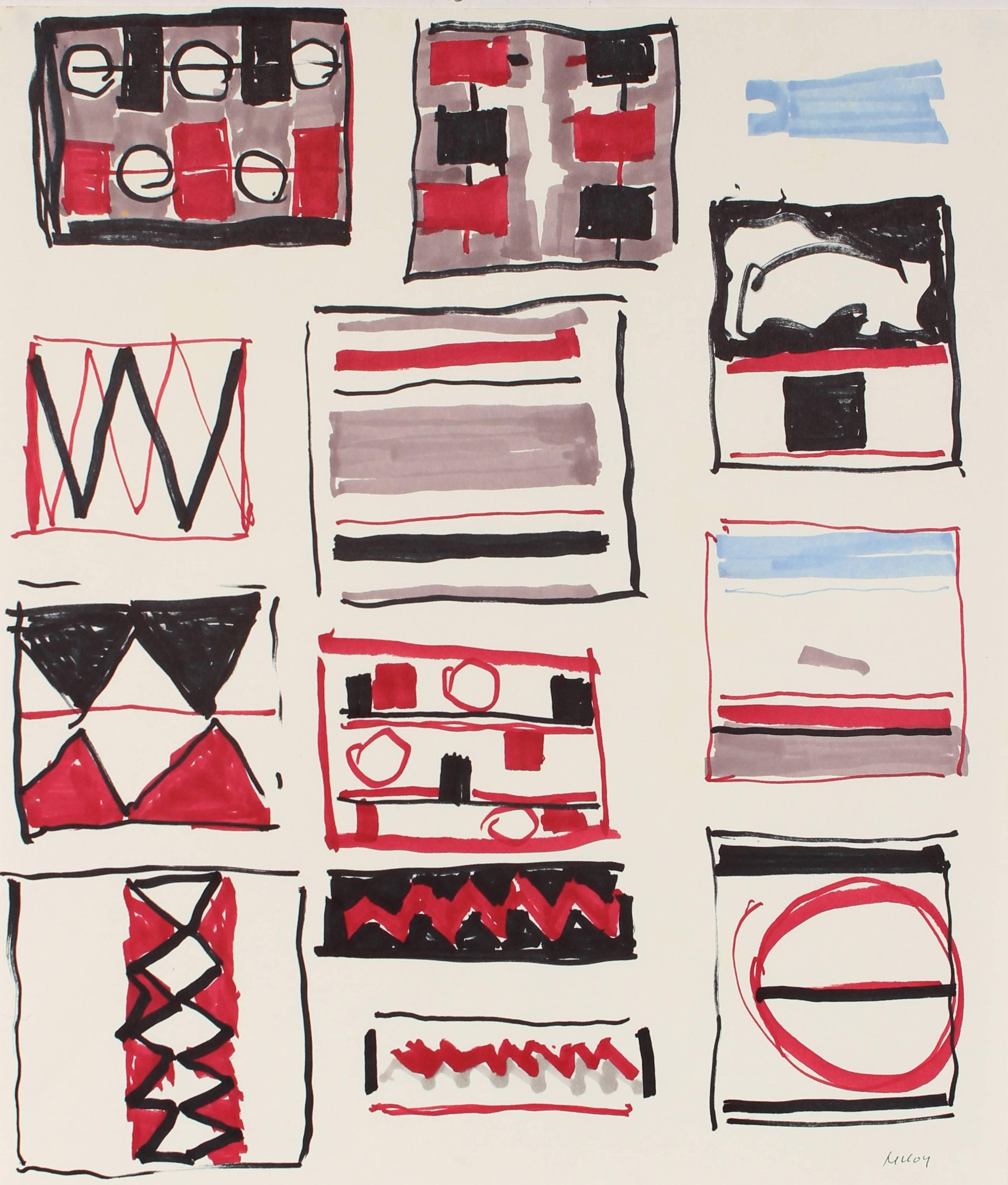 Geometric Abstract in Red and Black Ink, Circa 1960s