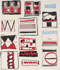 Geometric Abstract in Red and Black