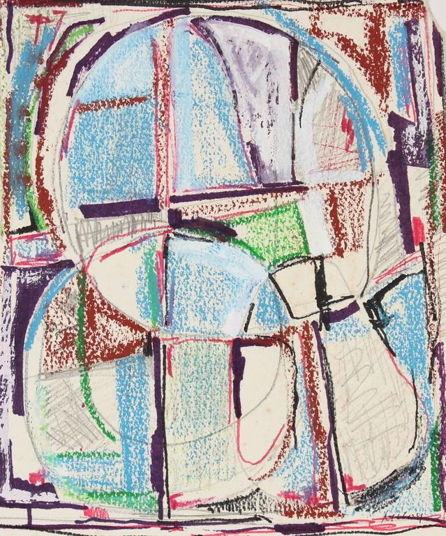 Paul McCoy Abstract Drawing - Modernist Abstract in Ink and Pastel, Mid 20th Century