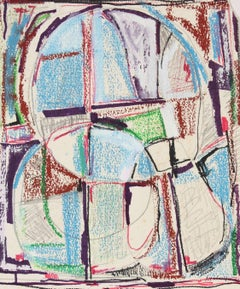 Modernist Colorful Abstract in Ink and Pastel with Red & Blue, Mid 20th Century