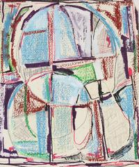 Modernist Abstract in Ink and Pastel, Mid 20th Century