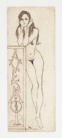 """Avec Moi"" Female Nude, Etching on Paper, 1976"