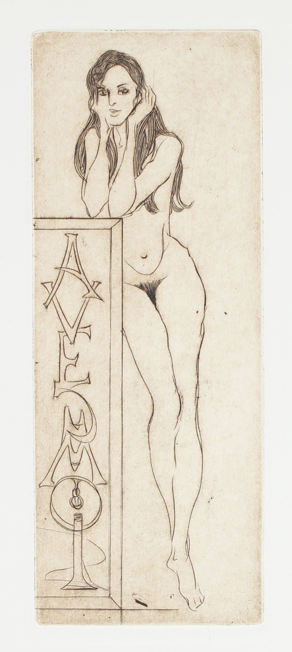 """""""Avec Moi"""" Female Nude, Etching on Paper, 1976"""