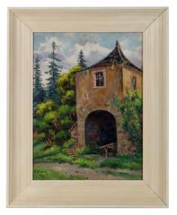 """""""Le Pigeonnier Avec La Ruine"""" Oil on Canvas, Circa 1900"""