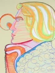 Surrealist Blonde Portrait in Pastel, 20th Century