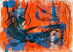 Abstract Expressionist Lithograph in Blue and Orange, Circa 1950s