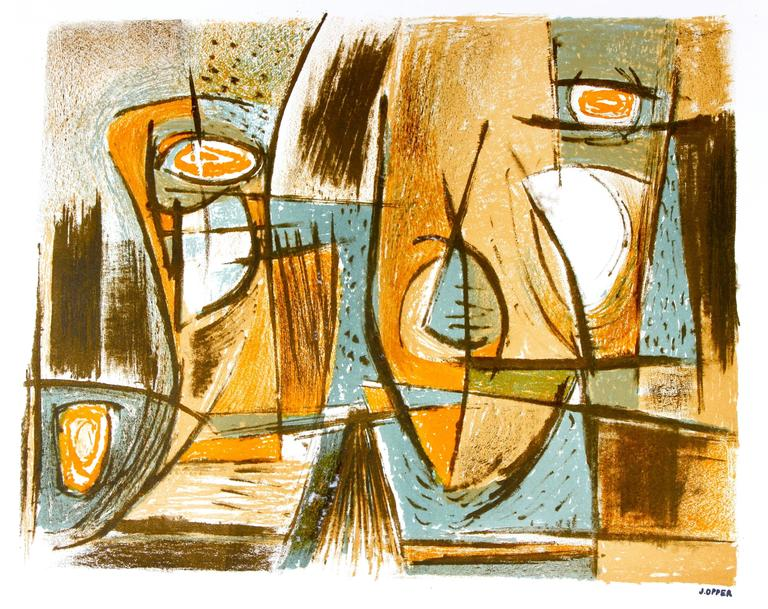 Mid Century Abstract Lithograph in Blue and Brown, Circa 1950