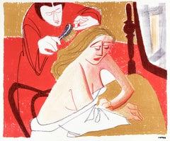 Bedroom Vanity Scene, Mid Century Lithograph