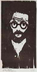 Woodcut Portrait with Glasses
