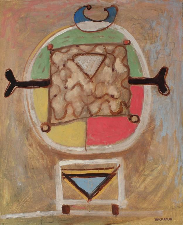 Modernist Totemic Abstract in Oil, Mid 20th Century